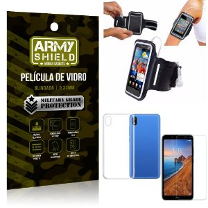 Kit Braçadeira Xiaomi Redmi 7A Braçadeira Corrida + Película Vidro + Capa Silicone - Armyshield