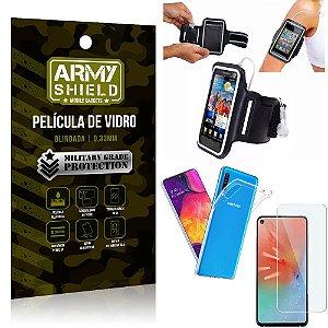 Kit Braçadeira Samsung A60 Braçadeira Corrida + Película Vidro + Capa Silicone - Armyshield