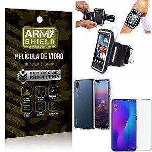 Kit Braçadeira Huawei P30 Braçadeira Corrida + Película Vidro + Capa Silicone - Armyshield
