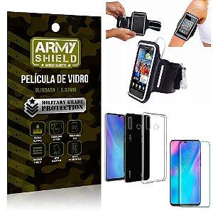 Kit Braçadeira Huawei P30 Lite Braçadeira Corrida + Película Vidro + Capa Silicone - Armyshield
