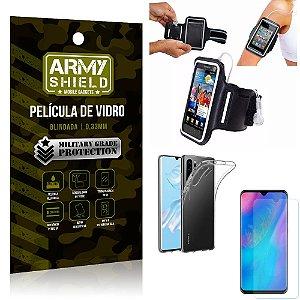Kit Braçadeira Huawei P30 Pro Braçadeira Corrida + Película Vidro + Capa Silicone - Armyshield