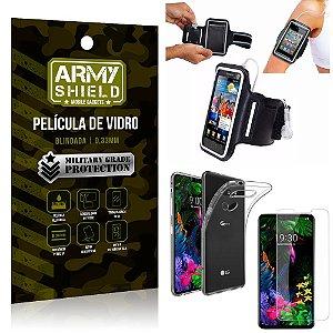 Kit Braçadeira LG G8S Braçadeira Corrida + Película Vidro + Capa Silicone - Armyshield