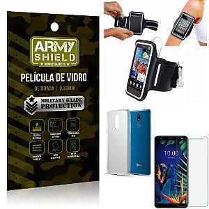 Kit Braçadeira LG K12 K12 Plus Braçadeira Corrida + Película Vidro + Capa Silicone - Armyshield