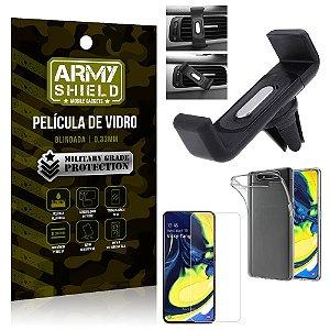 Kit Suporte Veicular Samsung A80 Suporte Veicular + Película Vidro + Capa TPU - Armyshield