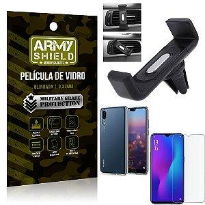 Kit Suporte Veicular Huawei P30 Suporte Veicular + Película Vidro + Capa TPU - Armyshield