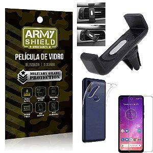 Kit Suporte Veicular Motorola One Vision Suporte Veicular + Película Vidro + Capa TPU - Armyshield