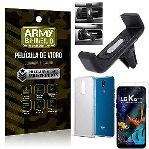 Kit Suporte Veicular LG K12 Max Suporte Veicular + Película Vidro + Capa TPU - Armyshield