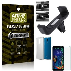 Kit Suporte Veicular LG K12 K12 Plus Suporte Veicular + Película Vidro + Capa TPU - Armyshield