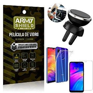 Kit Suporte Veicular Magnético Xiaomi Redmi 7 Suporte + Película Vidro + Capa TPU - Armyshield