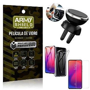 Kit Suporte Veicular Magnético Xiaomi Redmi K20 Mi 9T Suporte +Película Vidro +Capa TPU - Armyshield