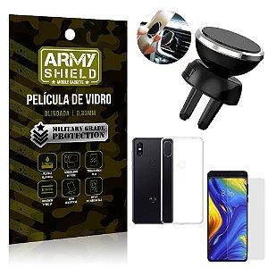 Kit Suporte Veicular Magnético Xiaomi Mi Mix 3 Suporte + Película Vidro + Capa TPU - Armyshield