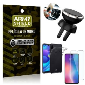 Kit Suporte Veicular Magnético Xiaomi Redmi Note 7 Suporte + Película Vidro + Capa TPU - Armyshield