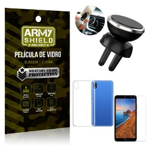 Kit Suporte Veicular Magnético Xiaomi Redmi 7A Suporte + Película Vidro + Capa TPU - Armyshield
