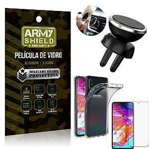 Kit Suporte Veicular Magnético Samsung A70 Suporte + Película Vidro + Capa TPU - Armyshield