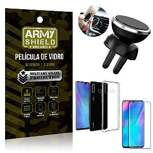 Kit Suporte Veicular Magnético Huawei P30 Lite Suporte + Película Vidro + Capa TPU - Armyshield