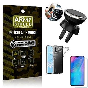 Kit Suporte Veicular Magnético Huawei P30 Pro Suporte + Película Vidro + Capa TPU - Armyshield