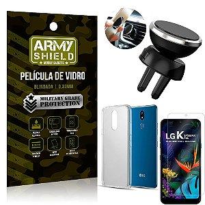 Kit Suporte Veicular Magnético LG K12 Max Suporte + Película Vidro + Capa TPU - Armyshield