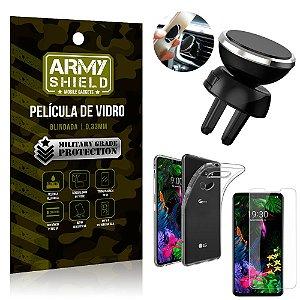Kit Suporte Veicular Magnético LG G8S Suporte + Película Vidro + Capa TPU - Armyshield