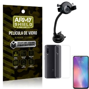 Kit Suporte Veicular Ventosa Xiaomi Mi 9 SE Suporte + Película Vidro + Capa TPU - Armyshield