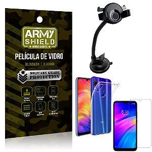 Kit Suporte Veicular Ventosa Xiaomi Redmi 7 Suporte + Película Vidro + Capa TPU - Armyshield