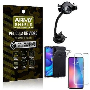 Kit Suporte Veicular Ventosa Xiaomi Redmi Note 7 Suporte + Película Vidro + Capa TPU - Armyshield