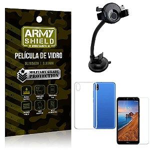 Kit Suporte Veicular Ventosa Xiaomi Redmi 7A Suporte + Película Vidro + Capa TPU - Armyshield
