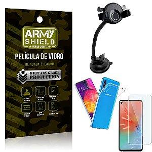 Kit Suporte Veicular Ventosa Samsung A60 Suporte + Película Vidro + Capa TPU - Armyshield