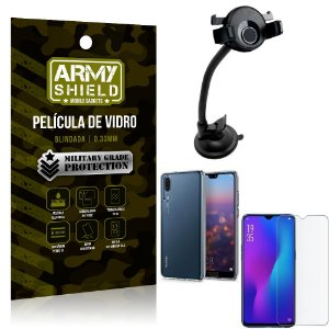 Kit Suporte Veicular Ventosa Huawei P30 Suporte + Película Vidro + Capa TPU - Armyshield