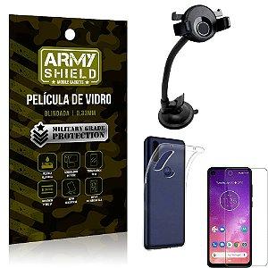 Kit Suporte Veicular Ventosa Motorola One Vision Suporte + Película Vidro + Capa TPU - Armyshield
