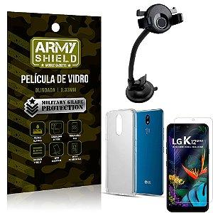 Kit Suporte Veicular Ventosa LG K12 Max Suporte + Película Vidro + Capa TPU - Armyshield