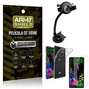 Kit Suporte Veicular Ventosa LG G8S Suporte + Película Vidro + Capa TPU - Armyshield