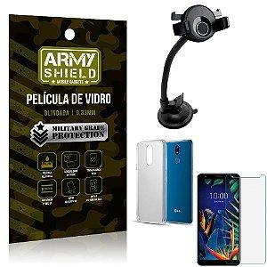 Kit Suporte Veicular Ventosa LG K12 K12 Plus Suporte + Película Vidro + Capa TPU - Armyshield