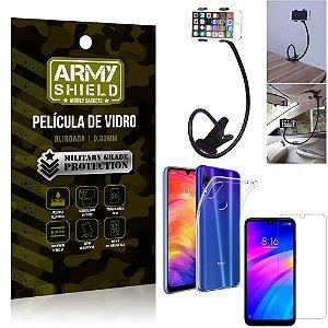 Kit Suporte Flexivel Xiaomi Redmi 7 Suporte + Película Vidro + Capa Silicone - Armyshield