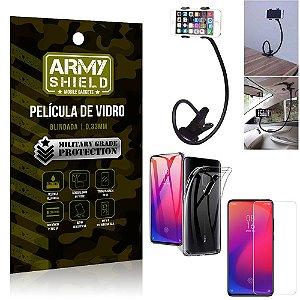 Kit Suporte Flexivel Xiaomi Redmi K20 Mi 9T Suporte + Película Vidro + Capa Silicone - Armyshield
