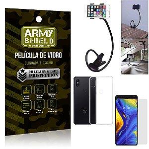Kit Suporte Flexivel Xiaomi Mi Mix 3 Suporte + Película Vidro + Capa Silicone - Armyshield
