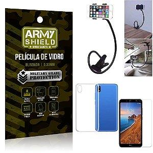 Kit Suporte Flexivel Xiaomi Redmi 7A Suporte + Película Vidro + Capa Silicone - Armyshield