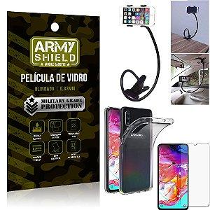Kit Suporte Flexivel Samsung A70 Suporte + Película Vidro + Capa Silicone - Armyshield
