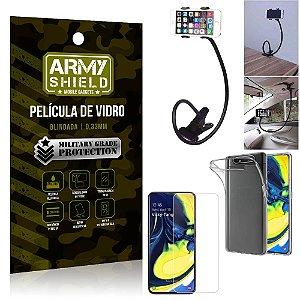 Kit Suporte Flexivel Samsung A80 Suporte + Película Vidro + Capa Silicone - Armyshield