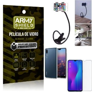 Kit Suporte Flexivel Huawei P30 Suporte + Película Vidro + Capa Silicone - Armyshield