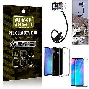 Kit Suporte Flexivel Huawei P30 Lite Suporte + Película Vidro + Capa Silicone - Armyshield