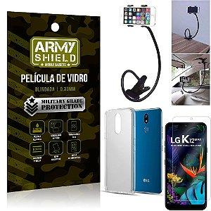 Kit Suporte Flexivel LG K12 Max Suporte + Película Vidro + Capa Silicone - Armyshield