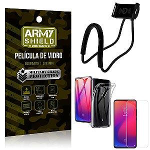 Kit Suporte Pescoço Xiaomi Redmi K20 Mi 9T Suporte + Película Vidro + Capa Silicone - Armyshield