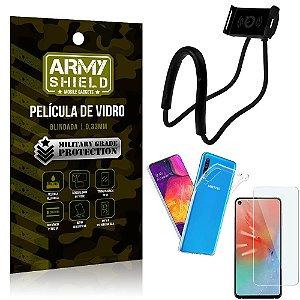 Kit Suporte Pescoço Samsung A60 Suporte + Película Vidro + Capa Silicone - Armyshield