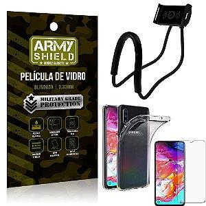 Kit Suporte Pescoço Samsung A70 Suporte + Película Vidro + Capa Silicone - Armyshield
