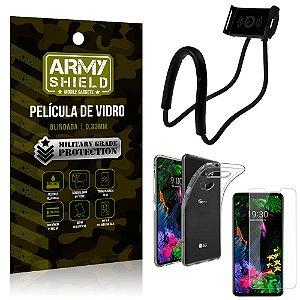 Kit Suporte Pescoço LG G8S Suporte + Película Vidro + Capa Silicone - Armyshield