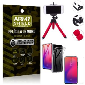 Kit Mini Tripé Xiaomi Redmi K20 Mi 9T Mini Tripé + Película Vidro + Capa Silicone - Armyshield