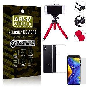 Kit Mini Tripé Xiaomi Mi Mix 3 Mini Tripé + Película Vidro + Capa Silicone - Armyshield