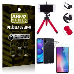 Kit Mini Tripé Xiaomi Redmi Note 7 Mini Tripé + Película Vidro + Capa Silicone - Armyshield