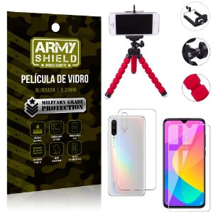 Kit Mini Tripé Xiaomi Mi A3 (CC9e) Mini Tripé + Película Vidro + Capa Silicone - Armyshield