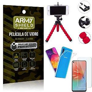 Kit Mini Tripé Samsung A60 Mini Tripé + Película Vidro + Capa Silicone - Armyshield